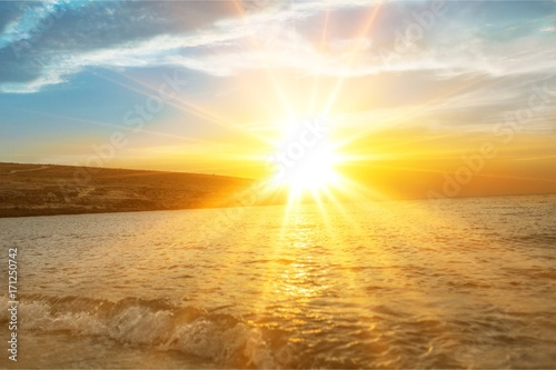 Foto op Aluminium Oranje Beach landscape.