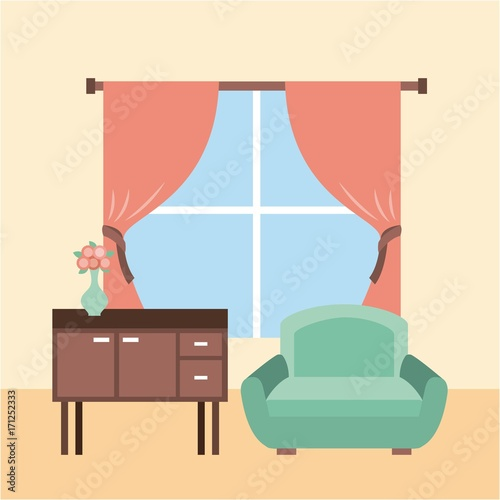 living room interior a sofa furniture cabinet drapes window and flower vase vector illustration