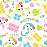 Seamless pattern of cute penguin girls and birthday gift boxes vector cartoon illustration for birthday wrapping paper, fabric clothes, and wallpaper