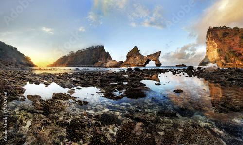 Foto op Canvas Grijze traf. Atuh beach sunrise, Bali Indonesia