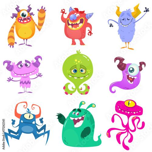 Naklejka Cartoon Monsters. Vector set of cartoon monsters isolated. Design for print, party decoration, t-shirt, illustration, logo, emblem or sticker