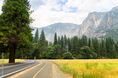 yosemite valley landscape at summer time Poster