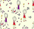 Easter seamless pattern dog,floral , doll,Cartoon - 171262911