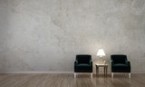 The interior design of lounge and living room and concrete wall texture