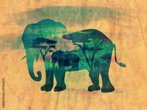 Papiers peints Beige African Night with Elephant Grunge