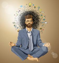 Businessman Hipster in Lotus Pose Meditating ORIGINAL-