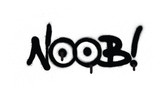 graffiti NOOB chat abbreviation in black over white
