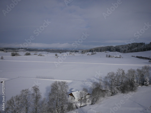 Deurstickers Lavendel aerial photo of village in winter