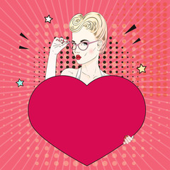 Comic Pop art blonde hair woman holds a red heart and her glasses. Vector illustration.