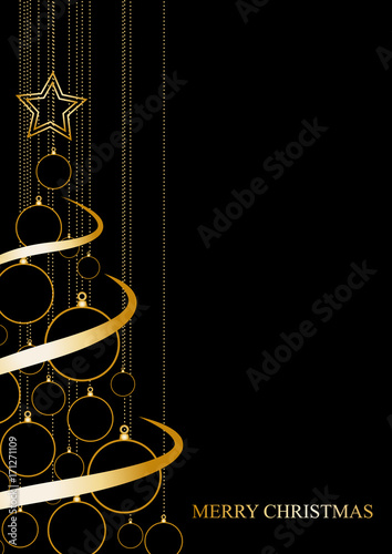 Poster Vector Abstract poster Golden Christmas Tree on black background