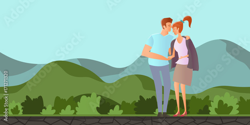 Staande foto Lichtblauw Young couple in love. Man and woman on a romantic date in mountain landscape. A man hugs a woman. Vector illustration.
