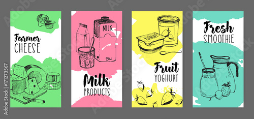 Collection of flyers with dairy products advertisement - farmer cheese, milk, fruit yogurt, fresh smoothie hand drawn on white background with bright colored stains of paint. Vector illustration.