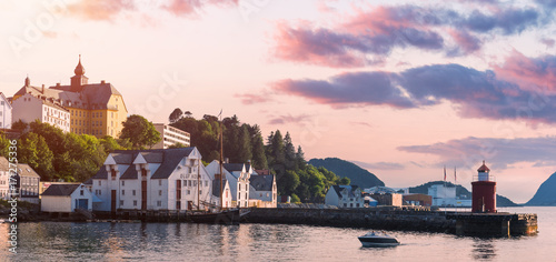 Staande foto Stockholm Colorful sunset in Alesund port town