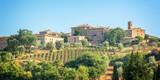 Vineyard and village of Montalcino, Tuscany, Italy