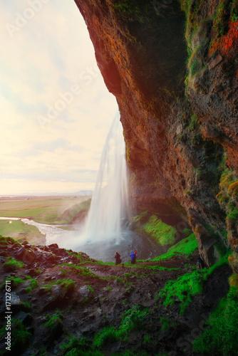 Sunrise on Seljalandfoss waterfall