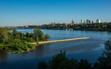 Panorama of Warsaw city over Vistula river, Poland