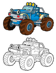 cartoon funny off road off road truck - isolated coloring page