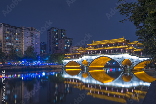 Anshun Bridge at night, Chengdu, China Poster