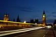 Light trails over Westminster Bridge London