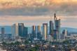 Frankfurt sunrise city skyline at business district, Frankfurt, Germany