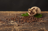 Coffee beans, green leafes, juta, vitage bacground