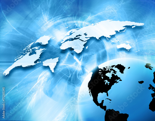 Poster World map on a technological background, glowing lines symbols of the Internet, radio, television, mobile and satellite communications.
