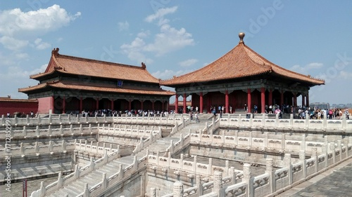 Papiers peints Pekin Forbidden city, The hall of preserving harmony and the hall of middle harmony Beijing, China