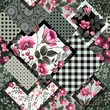 seamless decorative floral patchwork pattern with roses