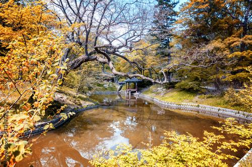 Autumn in gyeongbokgung palace seoul korea Poster