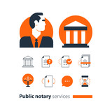 Public notary services icons set, law firm man advocacy consult document certify - 171294159