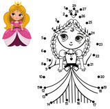 Education numbers dot to dot game for children, Princess (Vector illustration)