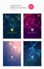 3d abstract covers set. Lines and triangular Shapes composition. Futuristic design posters © stonepic