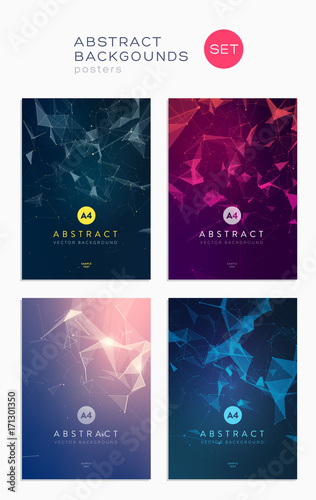 3d abstract covers set. Lines and triangular Shapes composition. Futuristic design posters