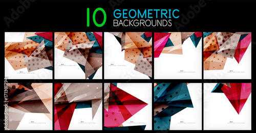 Collection of geometric modern abstract backgrounds