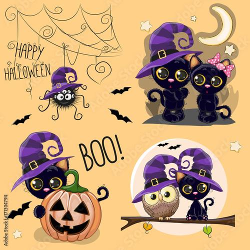 Set of Cute Halloween illustrations