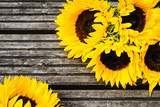 Yellow Sunflower Bouquet on Wooden Rustic Background - 171306160