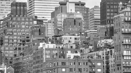 Black and white picture of Manhattan architecture, New York City, USA. - 171307363