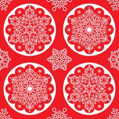 Christmas vector folk pattern - white snowflake mandala seamless design on red, Scandinavian style Xmas wallpaper