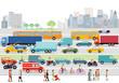 große Stadt mit Straßenverkehr und Fußgänger - 171317379