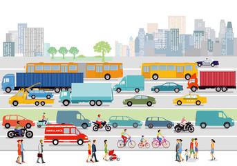 große Stadt mit Straßenverkehr und Fußgänger