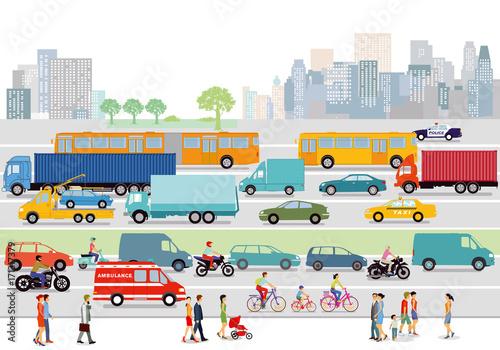 Sticker große Stadt mit Straßenverkehr und Fußgänger