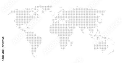 Fotobehang Wereldkaarten Weltkarte aus hellgrauen Punkten