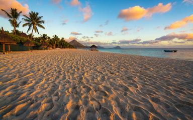 Flic and flac beach,beautiful sunset at Mauritius
