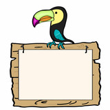 tukan bird and wood banner