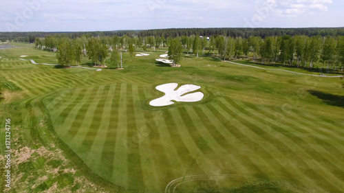 Aerial view Golf course. Sand bunkers at the beautiful golf course. - 171324716