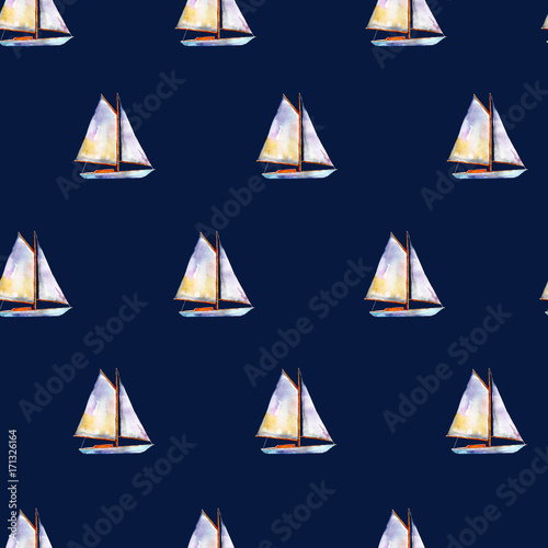 Watercolor seamless pattern with sailboats, bright hand-drawn summer  background. - 171326164
