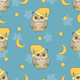 Seamless night pattern with cute owls, moon and stars. Baby print.