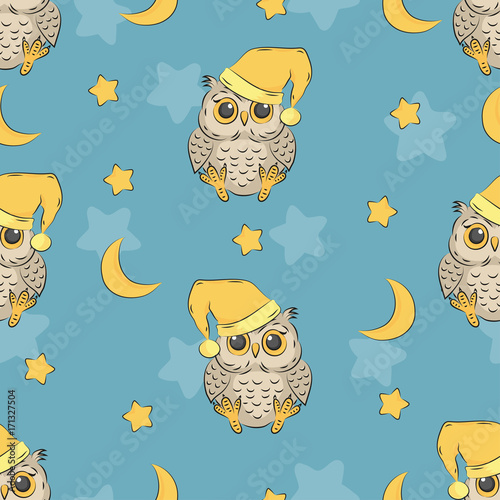 Aluminium Uilen cartoon Seamless night pattern with cute owls, moon and stars. Baby print.