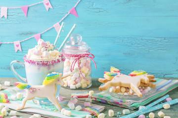 Unicorn hot chocolate and cookies