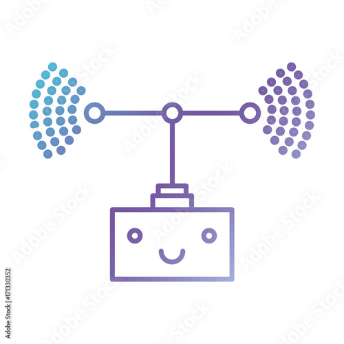 transmission antenna cartoon kawaii in color gradient silhouette from purple to blue vector illustration - 171330352